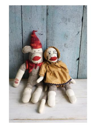 Vintage Sock Monkey Couple