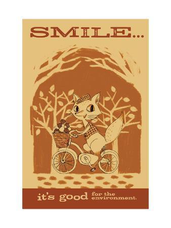 Smiling Squirrel on Bike