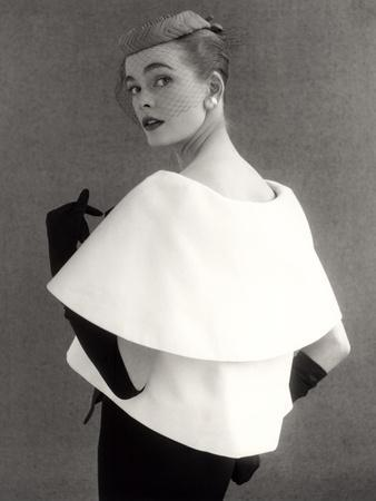 Susan Abraham in a John Cavanagh Tiered Evening Jacket, Dress and Hat, 1954