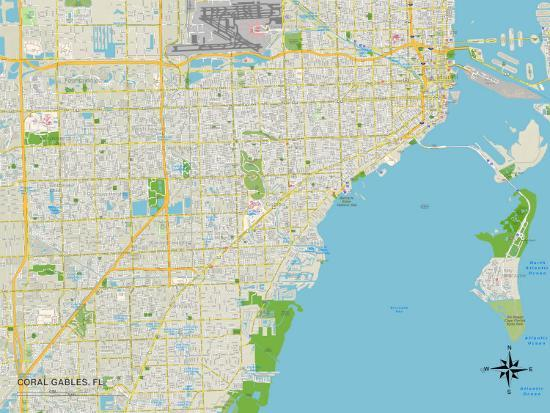 Coral Gables Map Florida.Political Map Of Coral Gables Fl Photo At Allposters Com