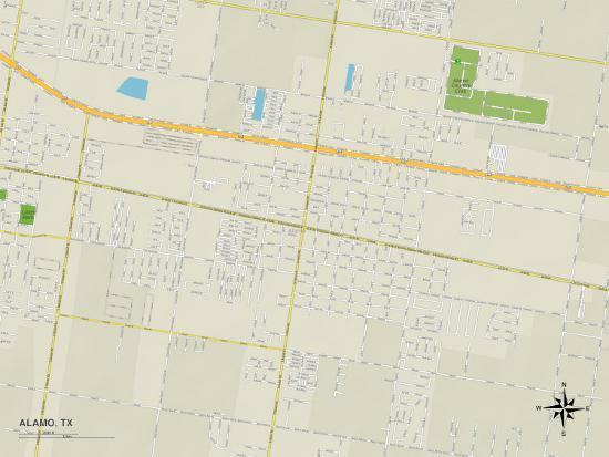 Political Map of Alamo, TX Photo at AllPosters.com