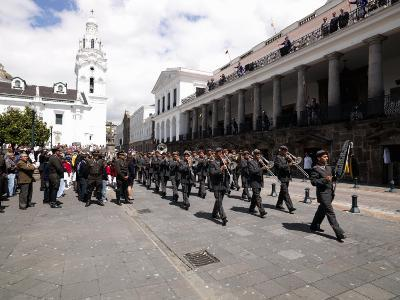 Army Band Marching for the Changing of the Presidential Guard Ceremony, Plaza De La Independencia,