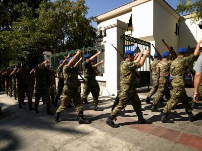 Army Soldiers Marching, Defense Ministry Building, National Garden of Athens, Greece
