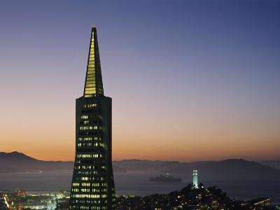 Buildings Lit Up at Dusk, Transamerica Pyramid, Coit Tower, San Francisco, California, USA