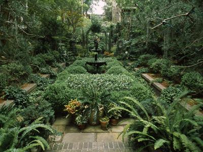 Fountain in a Garden, Savannah, Chatham County, Georgia, USA
