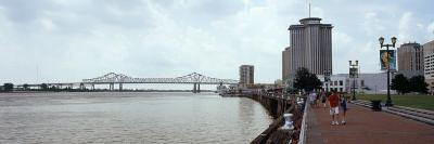 Bridge across a River, Crescent City Connection Bridge, Mississippi River, New Orleans, Louisiana,