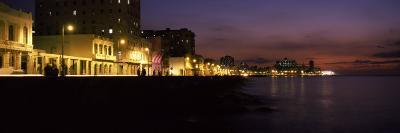 Buildings Lit Up at the Waterfront, Malecon Avenue, Havana, Cuba