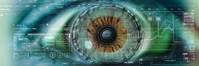 Close-Up of an Eye with Tech Diagrams in Abstract