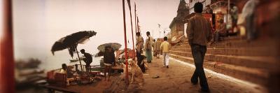 Group of People at a Riverbank, Ganges River, Varanasi, Uttar Pradesh, India