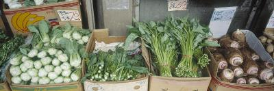 Organic Asian Vegetables in Containers at a Market Stall, Honolulu, Hawaii