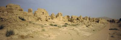 Ruins of Buildings in a Desert, Jiaohe Ruins, Turpan, Xinjiang Province, China