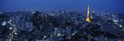 Tower Lit Up at Dusk in City, Tokyo Tower, Minato Ward, Kanto Region, Honshu, Japan