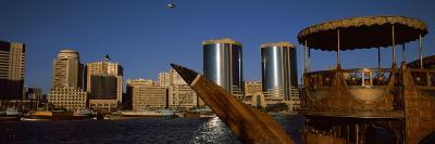 Wooden Dhow with Towers in Background, Deira Twin Towers, Deira, Dubai Creek, United Arab Emirates