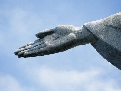 Detail of Hand of Christ the Redeemer Statue Tops Corcovado Mountain