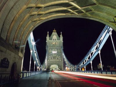 Night Time Traffic Crosses Tower Bridge in Central London
