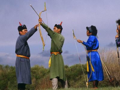 Ulan Bator, Family Competing in an Archery Competition at the National Day Celebrations, Mongolia