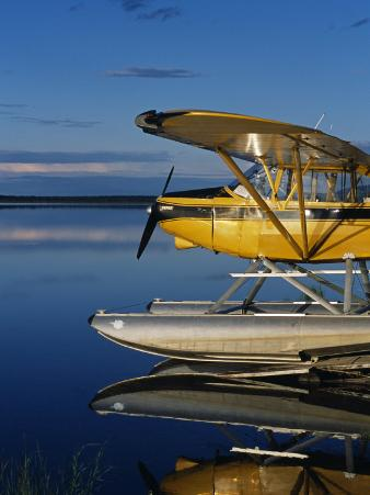 Alaska, Nondalton, Cessna Floatplane Parked on Still Waters of Six Mile Lake, Valhalla Lodge, USA