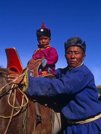 Karakorum, Horse Herder and His Son on Horseback, Mongolia