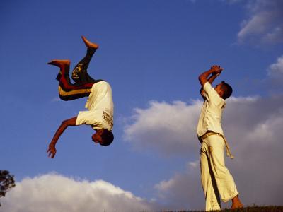 Two Boys Practice Capoeira, the Brazilian Martial Art