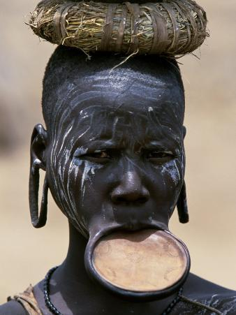 Woman of the Mursi Tribe, Her Clay Lip Plate Shows That She Is Married, Ethiopia