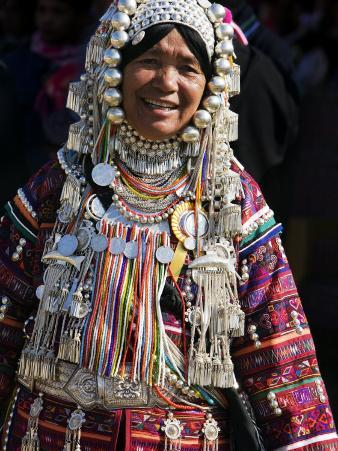 Akha Woman with Silver Headdress and Necklace Embellished with Glass Beads, Burma, Myanmar