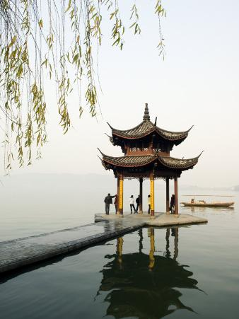 Zhejiang Province, Hangzhou, A Pavillion Early in the Morning on West Lake, China