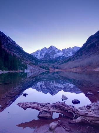 Colorado, Maroon Bells Mountain Reflected in Maroon Lake, USA