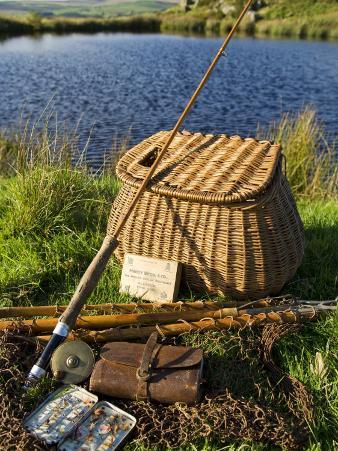 A Split-Cane Fly Rod and Traditional Fly-Fishing Equipment Beside a Trout Lake in North Wales, UK