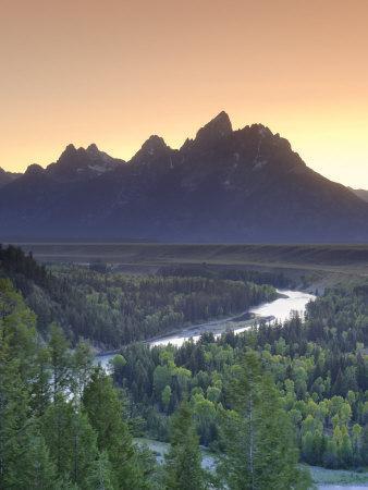 Snake River Overlook and Teton Mountain Range, Grand Teton National Park, Wyoming, USA