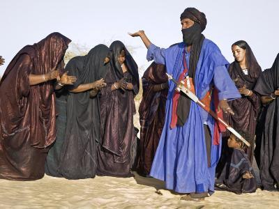 Timbuktu, A Group of Tuareg Men and Women Sing and Dance Near their Desert Home, Mali