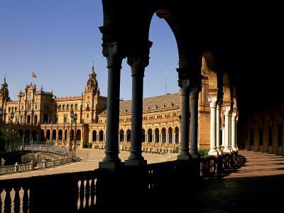 Elegant Facade of Plaza De Espana, Seville, Andalucia, Spain