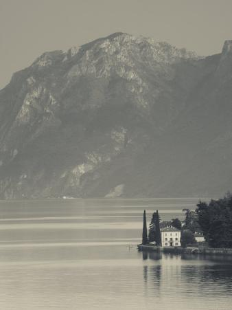 Lombardy, Lakes Region, Lake Como-Lake Lecco, Oliveto, Villa and Mountains, Italy