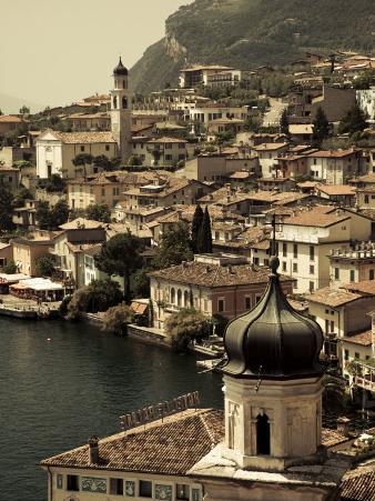 Lombardy, Lake District, Lake Garda, Limone Sul Garda, Town View with San Benedetto Church, Italy
