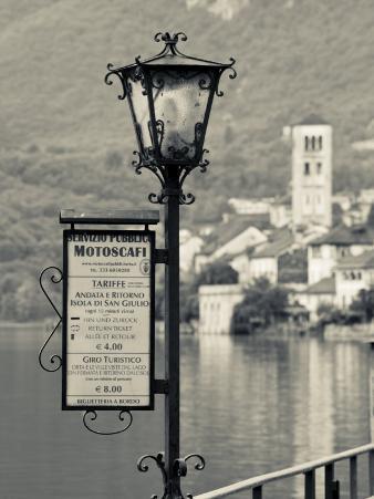 Piedmont, Lake Orta, Orta San Giulio, Isola San Giulio Island, Lake Taxi Sign, Italy