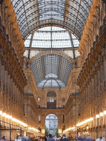 Lombardy, Milan, Galleria Vittorio Emanuele Ii, Shopping Arcade, Interior, Evening, Italy