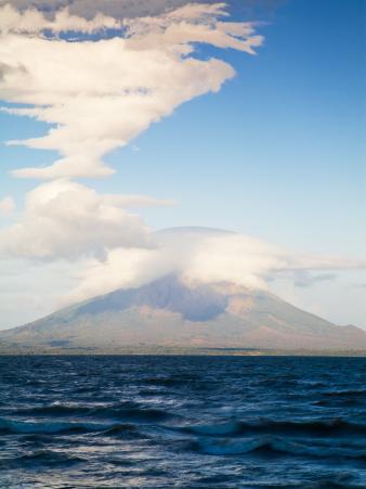 View from San Jorge of Conception Volcanoe, Ometepe Island, Nicaragua