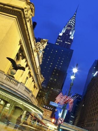 New York City, Manhattan, Grand Central Station and the Chrysler Building Illuminated at Dusk, USA