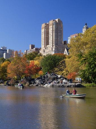 New York City, Manhattan, Central Park and the Grand Buildings across the Lake in Autumn, USA
