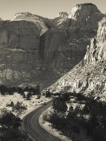 Utah, Virgin, Traffic on the Zion-Mt, Carmel Highway, Winter, USA