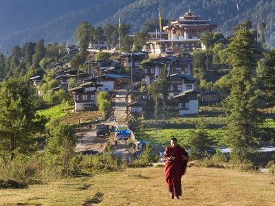 Monk Leaving Gangtey Dzong, and Village, Phobjikha Valley, Bhutan