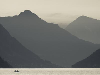 Ticino, Lake Lugano, Lugano, Dawn View of the Alps, Switzerland