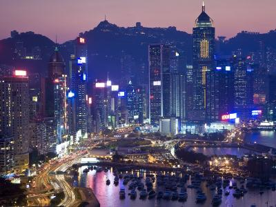 Hong Kong, Hong Kong Island, Causeway Bay View across Harbour to Victoria Peak, China