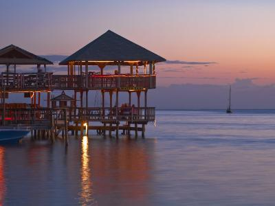 Bay Islands, Roatan, West End, Fosters Bar and Restaurant at Sunset, Honduras