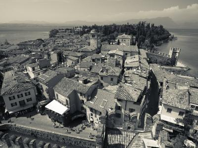 Lombardy, Lake District, Lake Garda, Sirmione, Town View from Castello Scaligero, B,1250, Italy