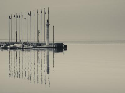 Veneto, Lake District, Lake Garda, Garda, Lakeside Pier and Lighthouse, Italy
