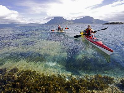 Nordland, Helgeland, Sea Kayakers Explore Calm Coastal Waters of Southern Nordland, Norway