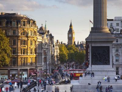 Big Ben, Whitehall and Trafalgar Sqaure, London, England