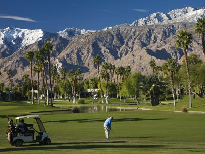 California, Palm Springs, Desert Princess Golf Course and Mountains, Winter, USA