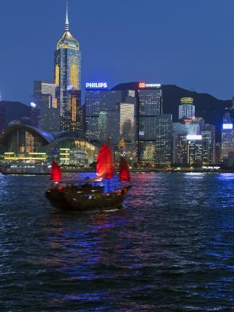 One of Last Remaining Chinese Sailing Junks, Victoria Harbour from Kowloon, Hong Kong, China, Asia