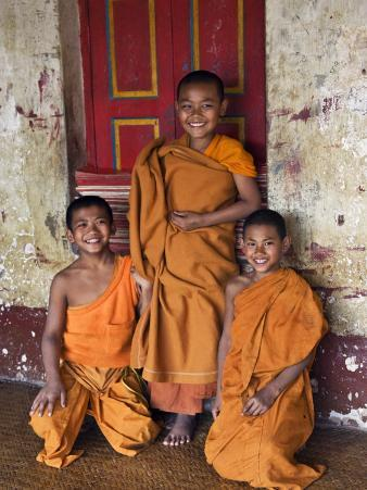 Group of Happy Young Novice Monks at Monastery in Ban-Lo, a Shan Village Outside Kengtung, Myanmar